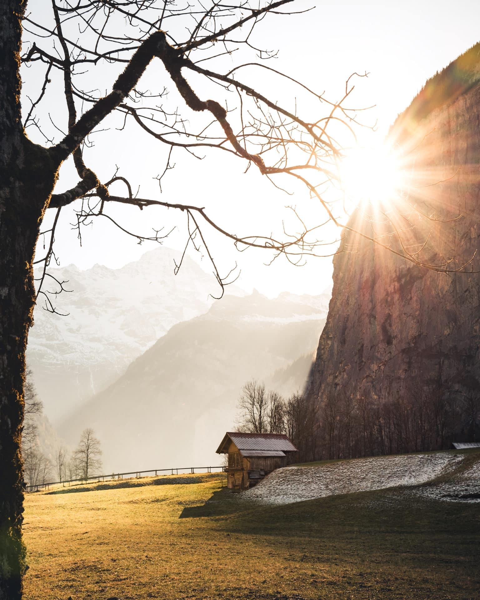 Lauterbrunnen Winter Sonne