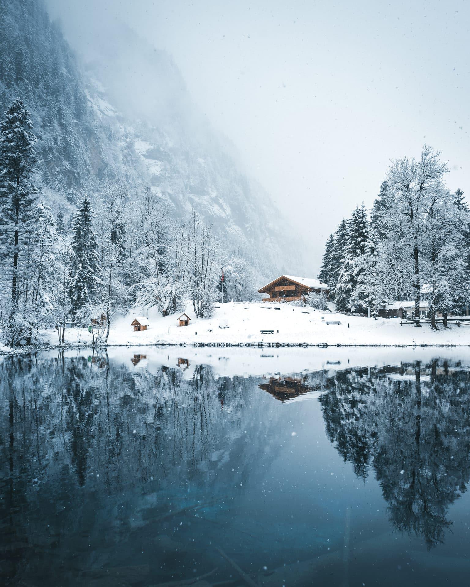 Blausee Winter Schnee Spiegelung