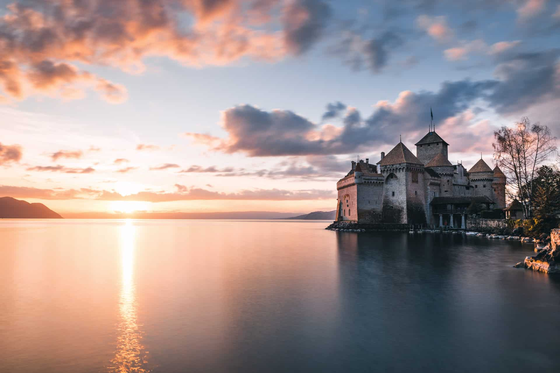 Chateau de Chillon Sonnenuntergang